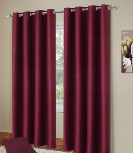 PLAIN PLUM COLOUR THERMAL BLACKOUT BEDROOM LIVINGROOM READYMADE CURTAINS RINGTOP EYELETS